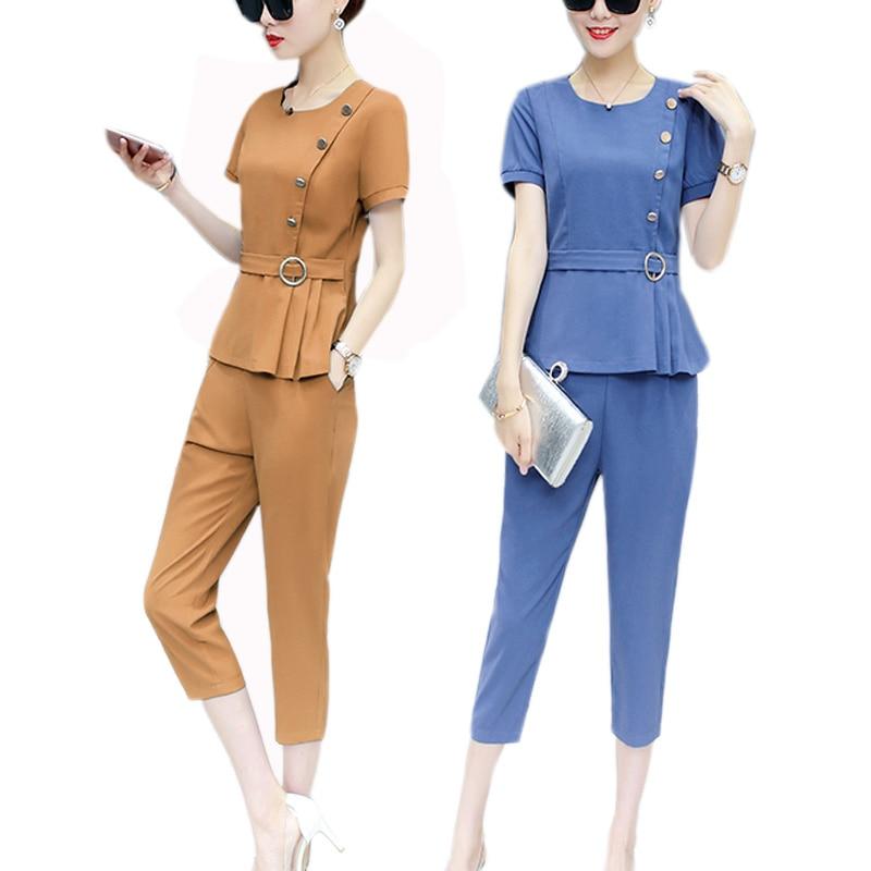 2 Piece Women Fashion Set Summer Elegant Chiffon Clothes Suit Blouse + Pants Outfit