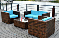4 SEAT OUTDOOR PATIO FURNITURE SET PE Wicker Chairs Table Sunbrella Cushions New