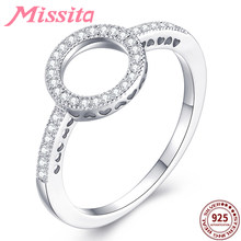 MISSITA 925 Sterling Silver Elegant Circle Round Finger Rings for Women Crystal Lover Wedding Ring Gift Brand Jewelry(China)