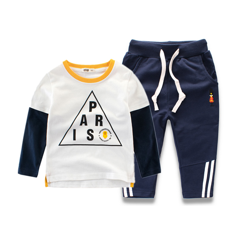 2018 New Kids 2pcs Sport Suits Cotton Long Sleeve T-Shirts and Pants Children Tracksuits 2-8y Baby Boys Teens Clothing Set boys camouflage sports suits 2017 new autumn cotton boys long sleeve sportswear 2 pcs set children clothing 3 5 7 9 11 14 y 6