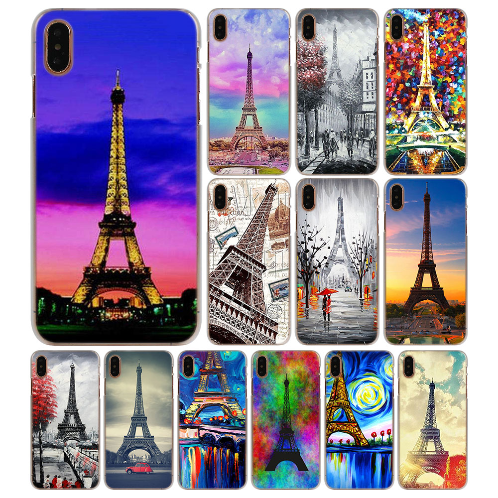 Paris Eiffel Tower painted Hard protector Phone Cases for Apple iPhone 5 5s 6 6s 7 8 Plus X XS XR XS MAX Case cover