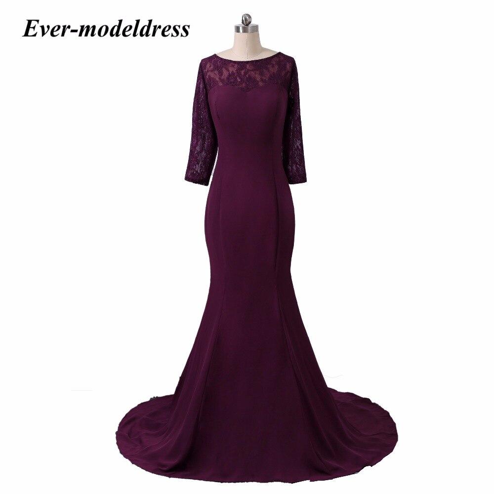 Vintage Illusion Mermaid Three Quarter Sleeves   Bridesmaid     Dress   for wedding party vestidos de fiesta largos elegan   dress   elegant