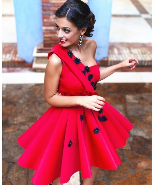 4f4fc1be02f2 Vestido de festa 2017 cheap handmade 3d fiore una spalla prom abiti rossi  corti dubai caftano