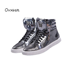 Ovxuan Glitter Male Boots Bright Fish Scale Leather Rivets Men Street Party Dress Casual Sneakers Mens Ankle Sneakers Shoes 2018