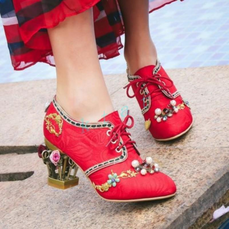 Dames À Floral Haut Lacets De Chaussures Décor Femmes Causalité Chic Talons Mode Cuir ynOmN8v0wP