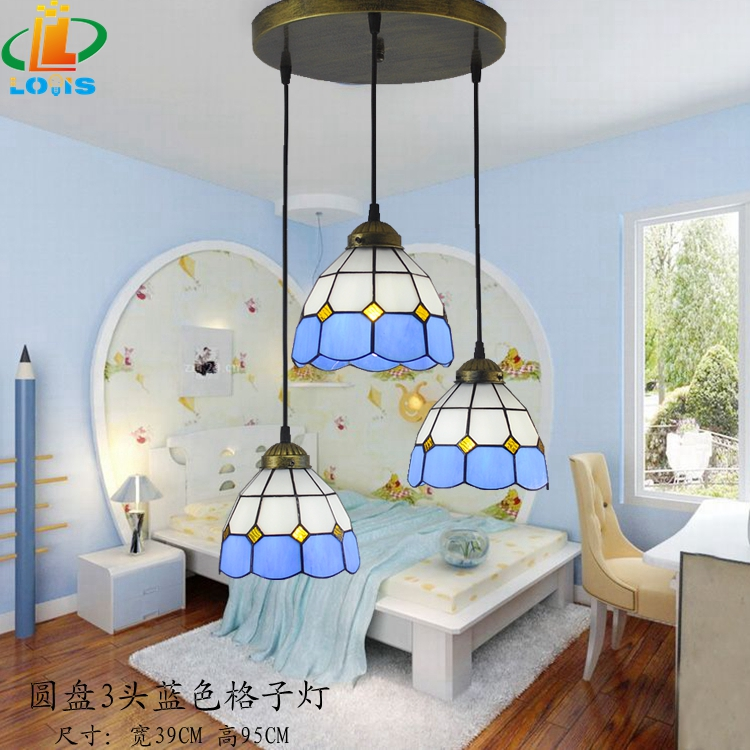Free Shipping 3 level Tiffany table lamps modern glass chandelier bar staircase balcony Mediterranean blue dome lighting 12 inch simple european style modern restaurant droplight tiffany glass lighting mahjong table mediterranean balcony lamp