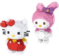 2pcs/lot Mirco Blocks Japan Cartoon Cute Sanrio My Melody Kitty Cat Rabbit Childhood Action Figure DIY Building Blocks Toys