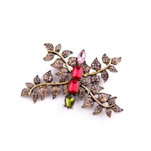 Women Shining Created Imitation Red Rhinestone Branch Fashion Brooch Wedding Costume Jewelry Factory Wholesale