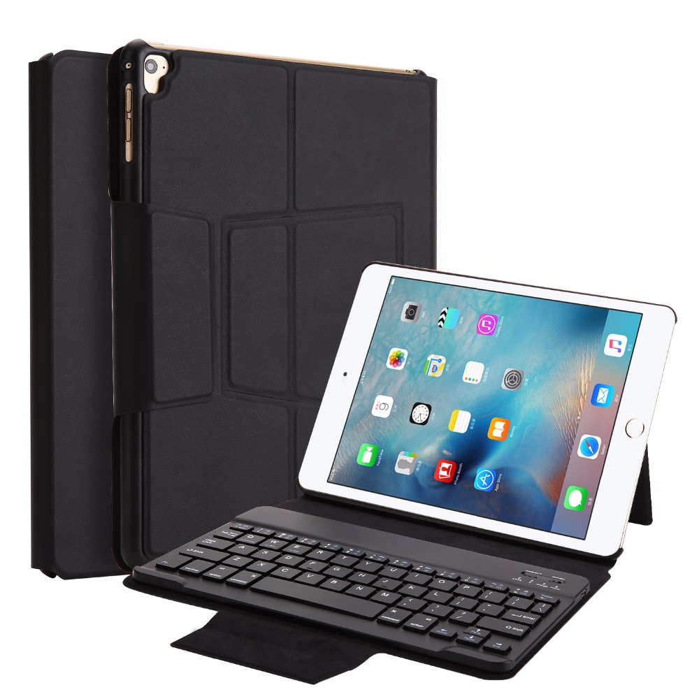 Kemile Wireless Bluetooth Keyboard for iPad 2017 Case Cover with Stand for iPad pro 9.7 inch Smart Cover Removable keypad landas bluetooth keyboard for iphone x power bank keyboard wireless rechargeable with back light keyboards mini for ipad pro 9 7