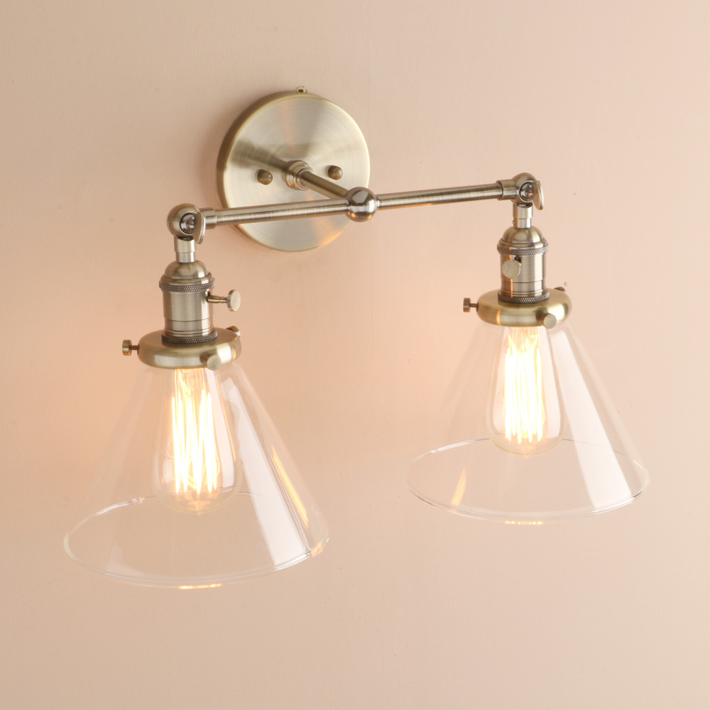 Image 4 - Permo Modern Wall Lights Wall Lamp Sconce 7.3 Funnel Glass Lampshade Wandlamp Bedroom Mirror lights Loft Decor Light Fixtures-in Wall Lamps from Lights & Lighting