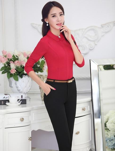 Uniforme Formal Estilo Mulheres 2015 Primavera Outono Fino Moda Profissional de Negócios Ternos Tops E Calças Das Senhoras Calças de Escritório Conjuntos