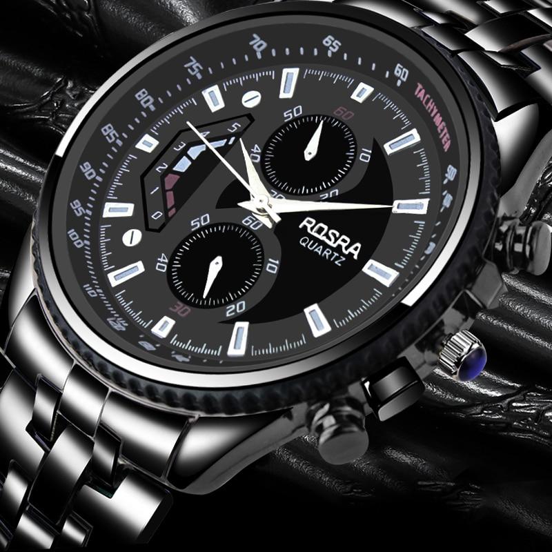 Men Quartz Watch Full Steel Hot Sale Luxury & Casual Business Wristwatch Stainless Steel Fashion Black Relojes Masculine Saati
