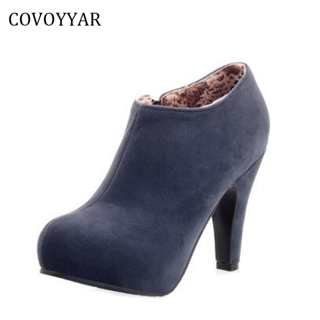 498fd0219cc2 COVOYYAR 2019 Elegant Women Ankle Boots Autumn Winter Dress High Heels Lady  Suede Boots Platform Shoes Women Size 34-43 WBS264