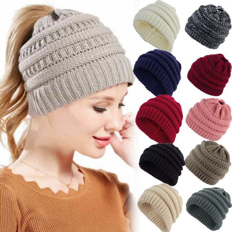 New Women Soft Knit Ponytail   Beanie   Winter Hats Woolen Cap Stretch Crochet Messy Bun Holey Hat Casual   Skullies     Beanies   Hole Caps