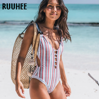 Ruuhee 원피스 수영복 수영복 여성 바디 슈트 백리스 수영복 수영복 여성 비치웨어 2018 bikini monokini