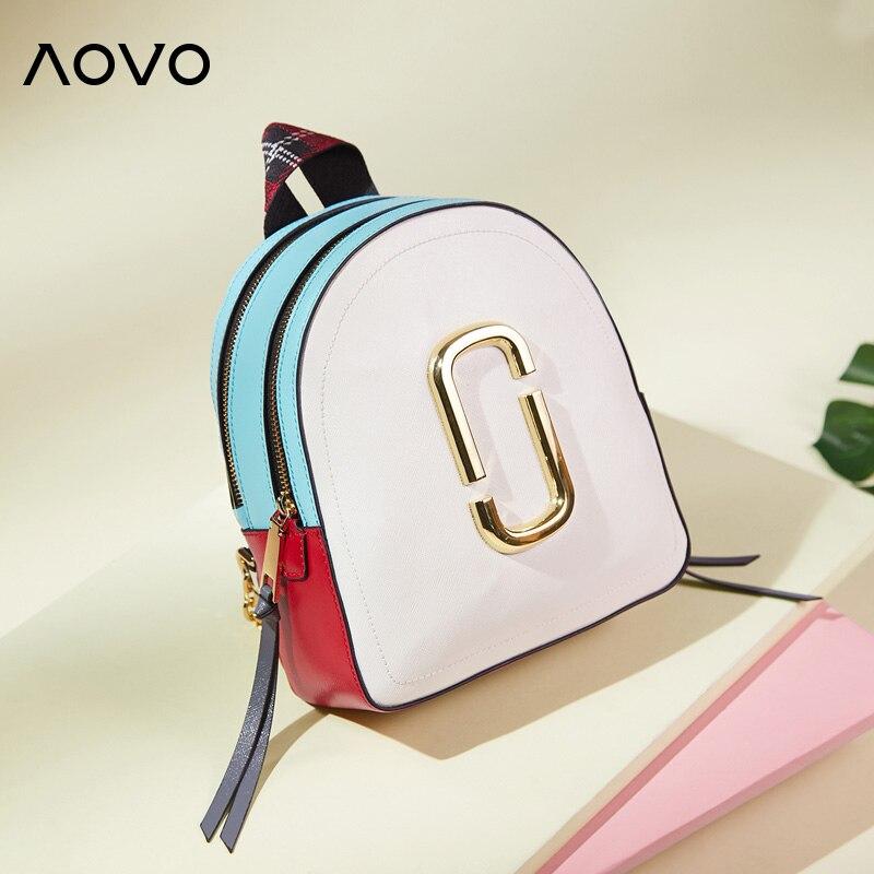 AOVO Marque Designer En Cuir Véritable Femmes Sac À Dos Mode Populaire Panneaux Mini Femmes Sacs de Voyage Petite Dame Sacs À Dos