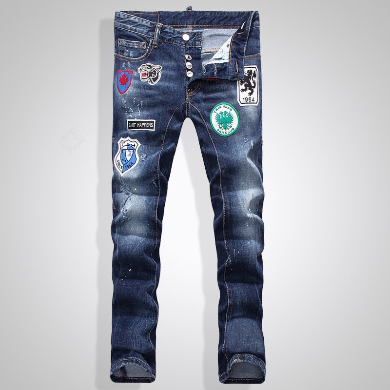 ФОТО 2017 New Brand D Men Jeans Fashion Men Pencil Pants High Waist Jeans Sexy Slim Skinny Pants Trousers Fit Jeans Frayed New Jeans