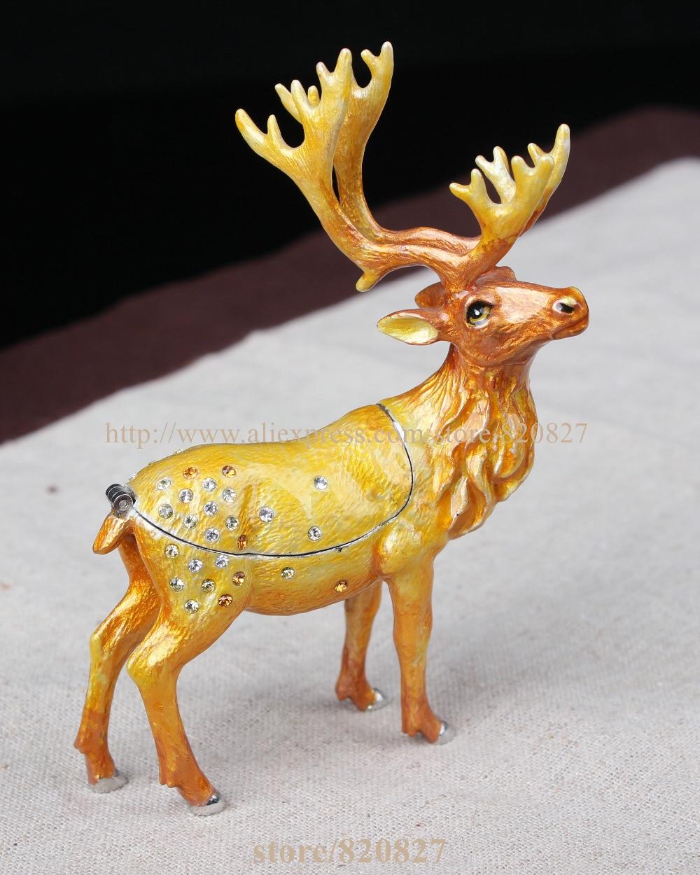 Collectible Deer Jewelry Box Reindeer-shaped Pill Box Deer Jeweled Trinket Box Enameled Pewter Bejeweled Musk Deer