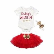 1c146823857 Daddy s valentine Newborn Infant Baby Girls Clothing Set Bowknot Romper Baby  Bodysuit Tops+Paris skirt