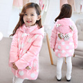 Free Shipping New Winter Pink Dot  Girl long coat Lovely princess pocket Thicker hooded coat