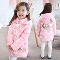 O Envio gratuito de New Menina Rosa Dot longo casaco de Inverno Linda princesa bolso Mais Grosso casaco com capuz