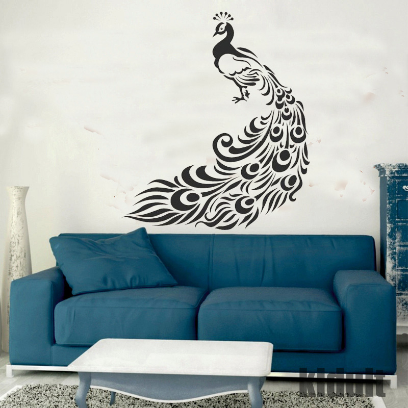 Home Life Peacock Decorative Wall Stickers Creative Style Wallpaper Animals Wallpaper Black and White Color Vinyl Wall Stickers