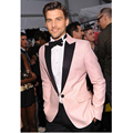 2016 Custom Made Pink Slim Fit Groom Tuxedos Best Man tuxedo jacket men Suits Wedding Groomsman Suits terno masculino casamento