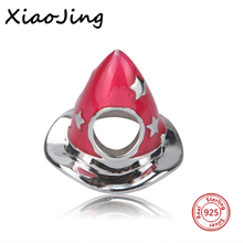 New Collection 925 Silver Red Enamel Hat Christmas Charm Beads Jewelry making Pendant Fit Authentic Pandora Bracelets Gift