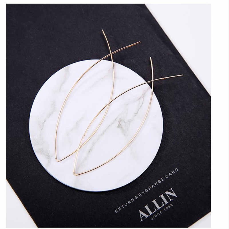 Free Shipping 1Pair Women Fish Shaped Wire Simple Brooch Earring Hollow Girls Lady Gold Personality Accessories Brincos de gota