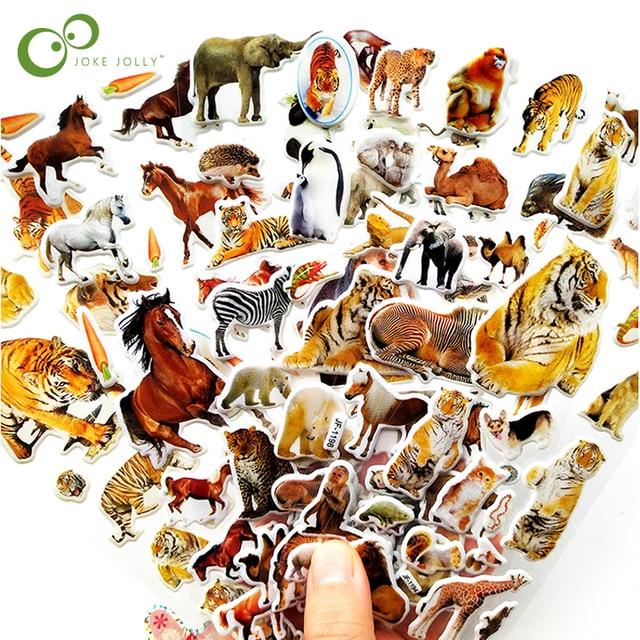 10枚3D動物ステッカーのおもちゃ子供のためのスクラップブック電話ラップトップギフト動物虎ライオン恐竜ステッカーyyy gyh