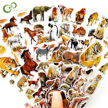 10 Sheets 3D Animals Stickers Toys For Children On Scrapbook Phone Laptop Gifts Animals Tiger Lion Dinosaur Sticker YYY GYH(China)