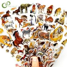 10 folhas 3d animais adesivos brinquedos para crianças em scrapbook telefone portátil presentes animais tigre leão dinossauro adesivo yyy gyh