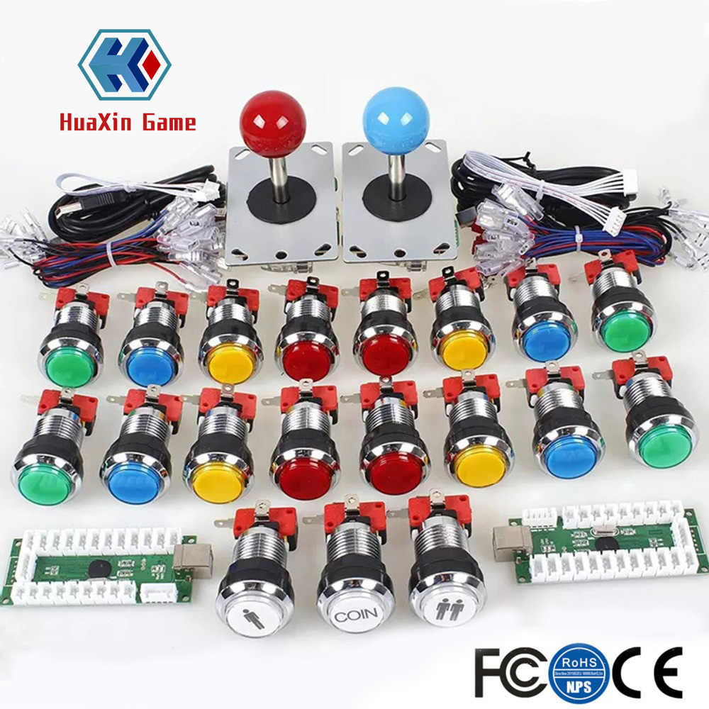 2 Player Arcade Game DIY Accessories Kit For PC And Raspberry Pi 5Pin Joystick And + Chrome Plating LED Illuminated Push Buttons
