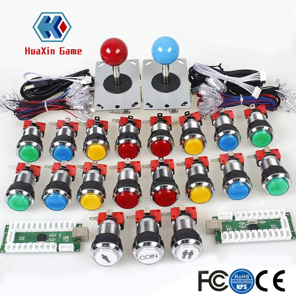 2 Player Arcade Game DIY Accessories Kit For PC And Raspberry Pi 5Pin Joystick And + Chrome Plating LED Illuminated Push Buttons2 Player Arcade Game DIY Accessories Kit For PC And Raspberry Pi 5Pin Joystick And + Chrome Plating LED Illuminated Push Buttons