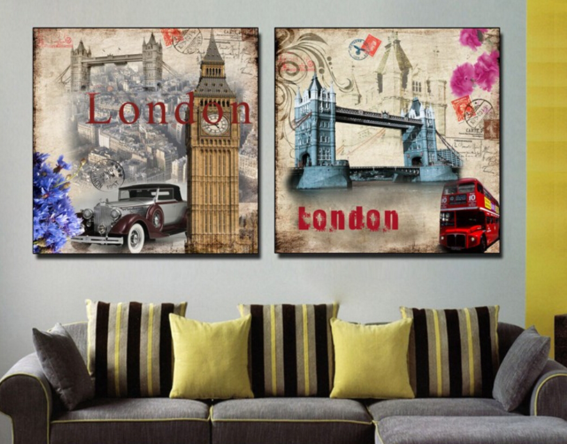 2 Pieces Wall Picture British Style London Art Decorative Painting Picture The Wall Art For