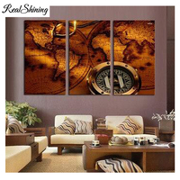 Home Decor 5D DIY diamond Painting 3 Pieces World Map Compass Decorative mosaic Painting cross stitch Wall Pictures FS3605