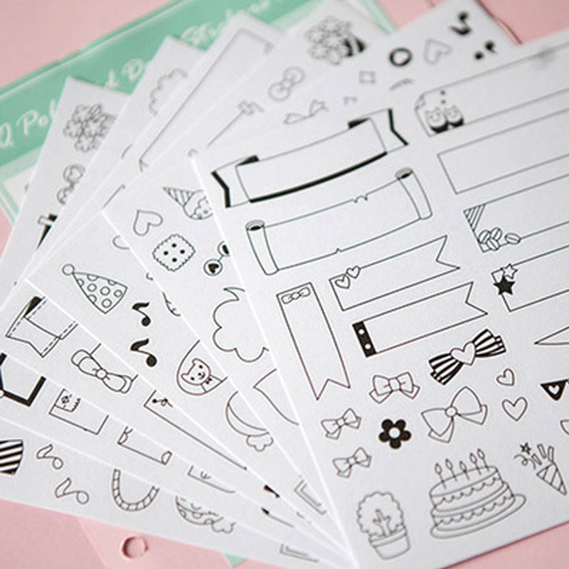 6 Sheets/set DIY Black Calendar Paper Sticker For Scrapbook Calendar Diary Planner Sticky Photo Album Decor Kids Children 2016 new scrapbook diy photo album cards transparent acrylic silicone rubber clear stamps sheets farm