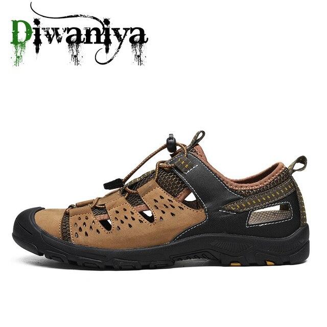 Летние мужские уличные сандалии, клетчатые Летние повседневные удобные нескользящие походные туфли, пляжные рыболовные сандалии, большой размер 38 46