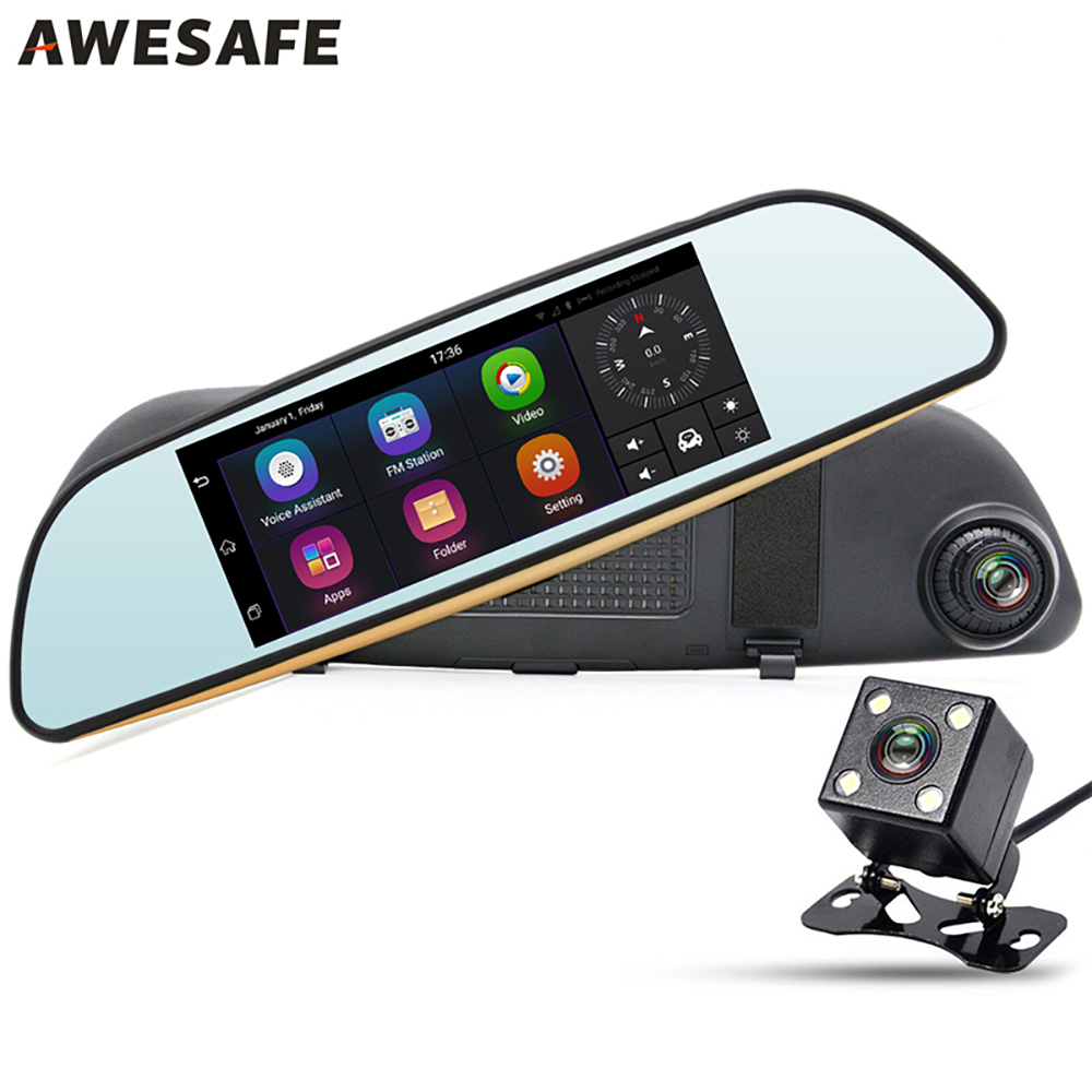 AWESAFE 7 3G Car Navigator Camera DVR Mirror Android 5.0 GPS Navigation Dual Lens Full HD 1080P Video Recorder Rearview Mirror gps навигатор lexand sa5 hd