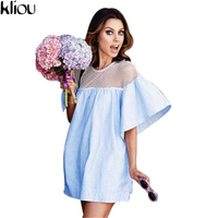 Kliou2017 Summer Beach Dress Ladies Flare Sleeve Sexy Short Dresses Women Casual Slim Dress Beachwear Patchwork