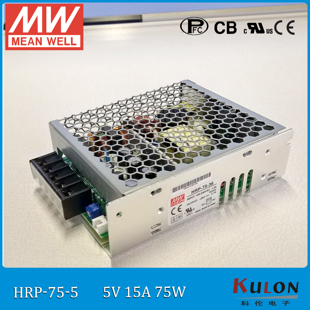 все цены на Original MEAN WELL HRP-75-5 single output 75W 15A 5V meanwell Power Supply HRP-75 with PFC function G5 series онлайн