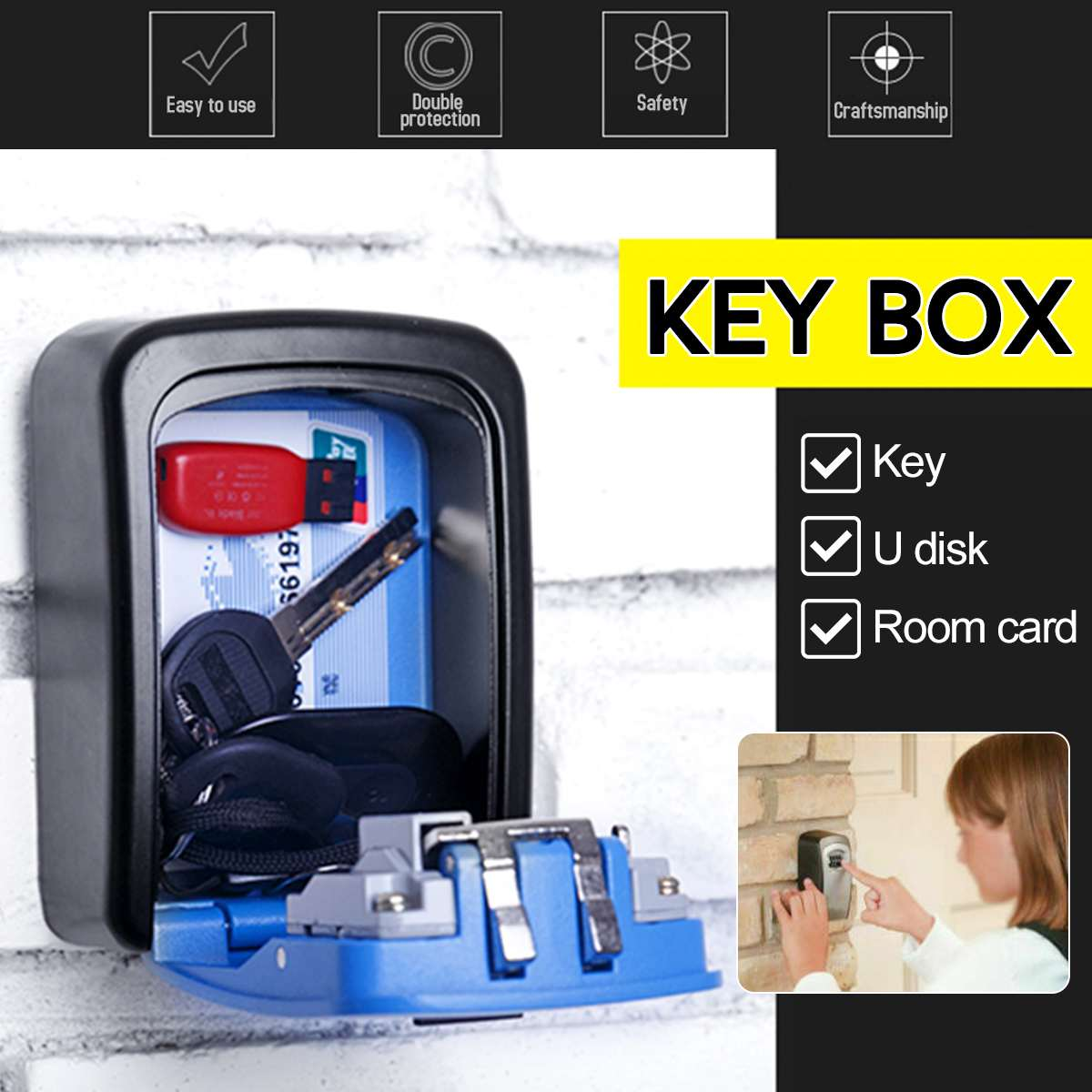 4 Digit Key Safe Box Outdoor Code Lock Storage Case Wall Mounted Larger Capacity Security Key Holder Rust Free Alumium Alloy