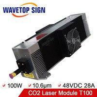 Бесплатная доставка CO2 лазерный модуль 100 Вт радиочастотный лазер модуль T100 100 W Длина волны лазера 10.6nm входной источник питания DC48V 28A