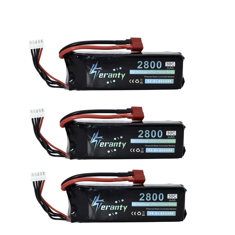 <font><b>2800mah</b></font> 14.8V BATTERY RC <font><b>4s</b></font> <font><b>Lipo</b></font> Battery 14.8V 30C 803496-<font><b>4s</b></font> for FT010 FT011 RC boat RC Helicopter Airplanes Car Quadcopter 3pcs image