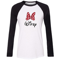 Cute Bow Wifey Hubby Design Women Sleeve Graphic Tee Tops Family Vacation Fans Party Cosplay Tshirt