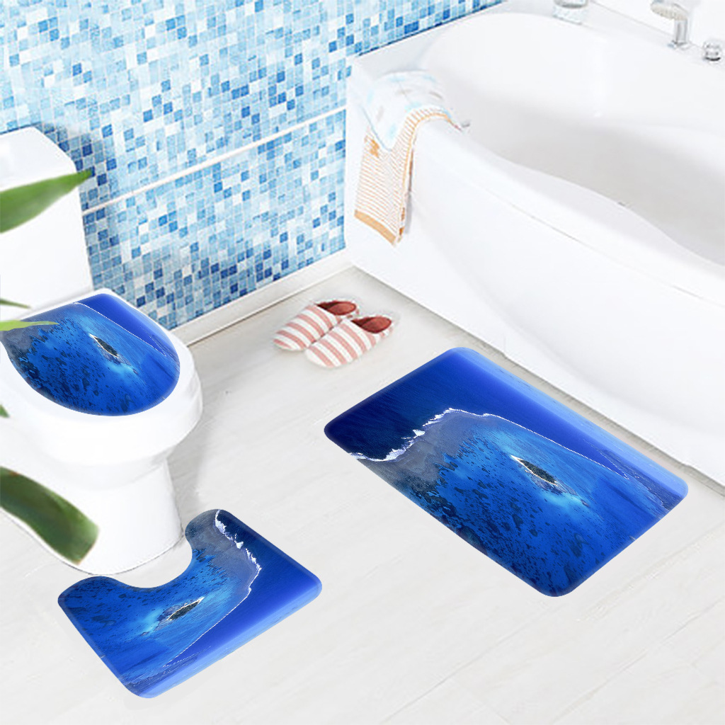 3Pcs Anti Slip Bathroom Rugs Set Ocean Pattern Blue Absorption ...