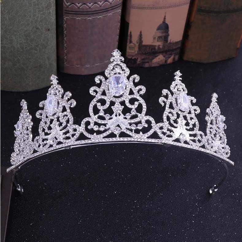 หรูหราคริสตัลมงกุฎเจ้าสาวอุปกรณ์เสริมผมงานแต่งงาน Rhinestone Waterdrop Tiara Crown Headband หน้าผากเจ้าสาวเครื่องประดับผม