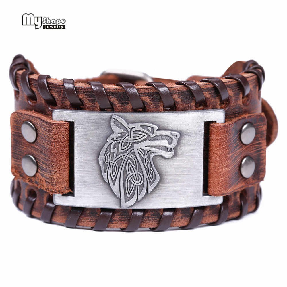 My Shape Vintage Religion Bangle Viking Wolf Bracelet Men Wide Genuine Leather Strap Bracelets Bangles Totem Jewery Accessories