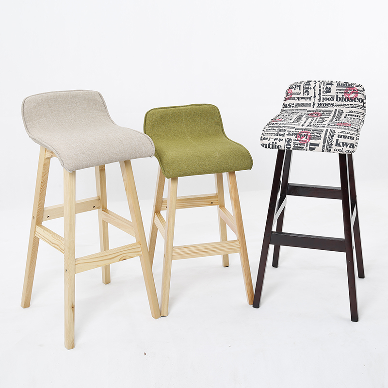 Wood Bar Stool Cotton Material Seat Europe And The United