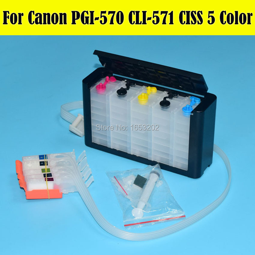 Europe 5 Color/Set CISS Continuous Ink Supply System For Canon PGI-570 CLI-571 PGI570 CLI571 Ciss With Auto Reset Chip hp980 250ml x 4colors ciss system with auto reset chip for hp 980 bulk ink for hp x555 x585 printer continuous ink supply system